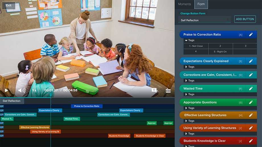 Vosaic video player with feedback form and timeline