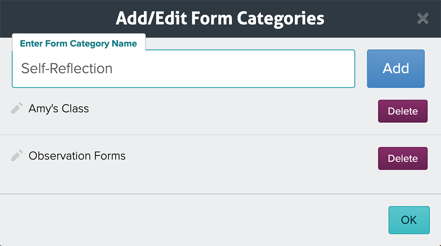 Manage Form Categories Modal