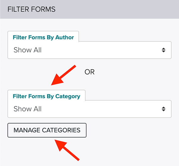 Filter Forms by Category