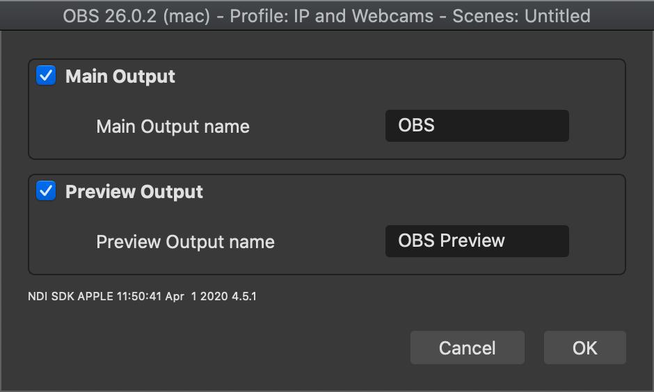 OBS NDI Output Settings Modal on a Mac