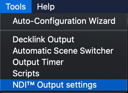 NDI Output Settings: Mac