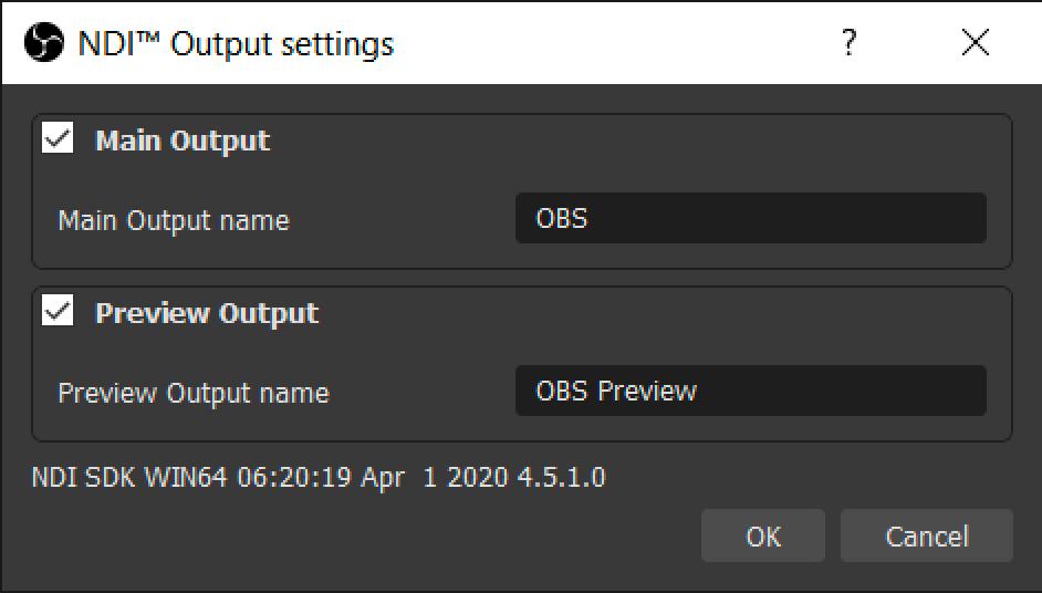 NDI Output Settings. Check both options.