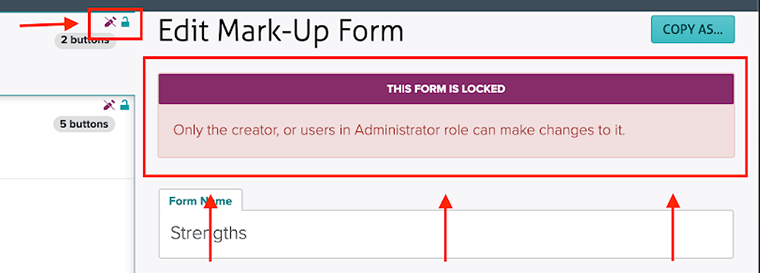 Locked form message