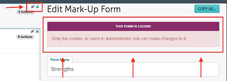 Locked form message