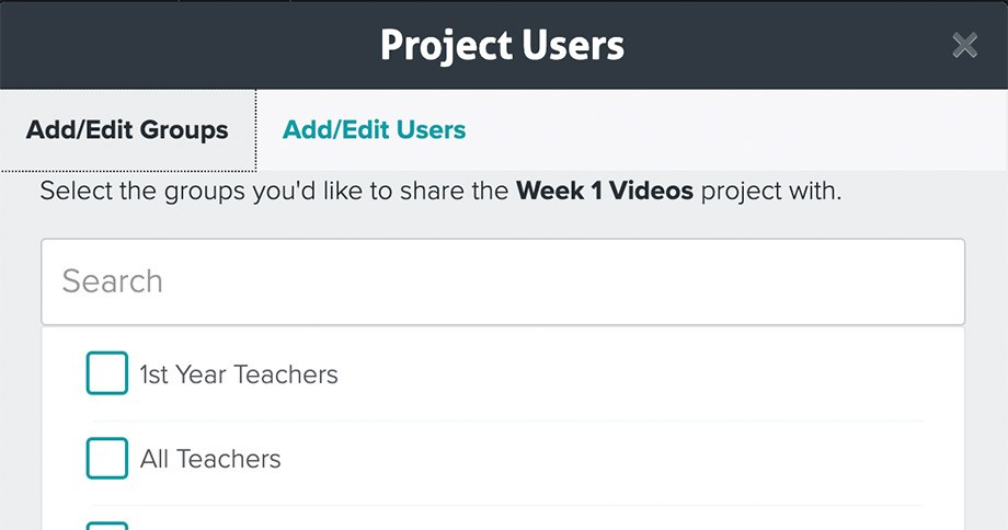 Add users or groups to Vosaic Projects