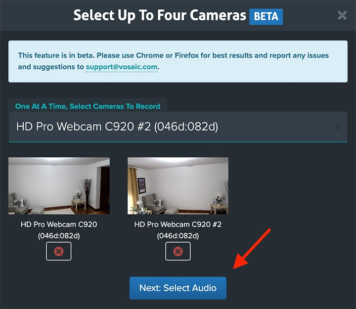 Preview of selected cameras
