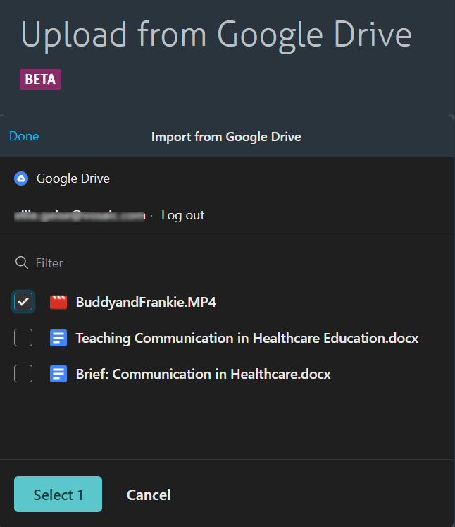 Select video you'd like to upload from Google Drive