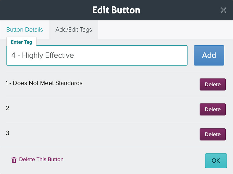 Add/Edit Tags modal