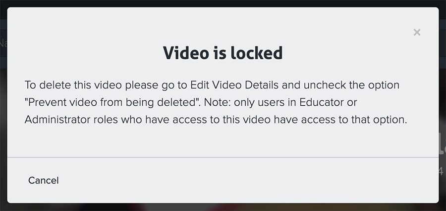 Video is Locked Modal